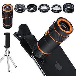 Kaufen Handy Kamera Lens Kit, 6in 1Universal 12x Zoom Teleobjektiv + 0,62x Weitwinkel & 20x Makro Objektive + 235° Fisheye Objektiv + Starburst Objektiv + CPL + Halterung + Stativ für iPhone X/8/7/6/6S Plus Samsung Android und die meisten Smartphone