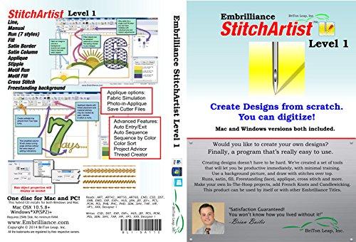 Embrilliance StitchArtist Level 1 Machine Embroidery Digitizing Software & World Weidner Stabilizer Bundle