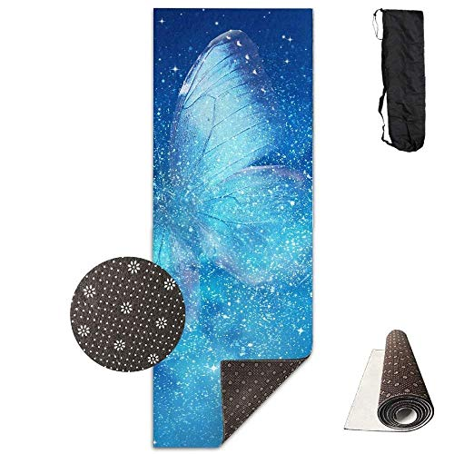 QIAOJIE Yoga Mats Universe Stars, Butterfly Deluxe Yoga Mat Aerobic Exercise Pilates 180cm x 61cm