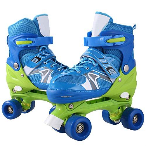 WeSkate Kid Fashion Quad Skates Einstellbare Größen Rollschuhe PVC Rad Triple Lock Mesh Breathable Rollerblades Für Anfänger / Kleinkinder / Kinder / Jungen / Mädchen (Blau, 31-34)