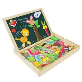 Puzzle Magnetico Legno Lavagna Magnetica Doppio Lato Puzzle di Legno Giochi Educativi per Bambini 3