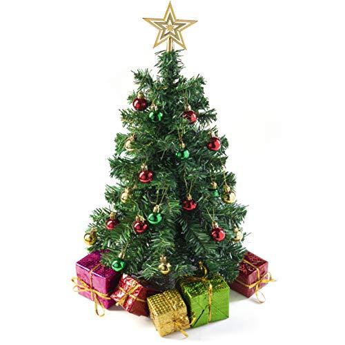 Prextex Mini Albero di Natale da Tavolo Fai-da-Te 58 cm con Pacchi Regalo Decorati, Ornamenti Appesi e Puntale a Stella per Le Decorazioni di Natale Fai-da-Te