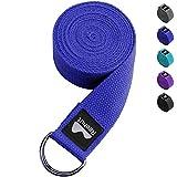 REEHUT Correa para Yoga (1.8m, 2.4m, 3m) - Cinturón con Hebilla Metal D-Anillos de 100% Algodón Resistente para Ejercicios de Estiramiento, Fitness, Pilates y Flexibilidad(Azul,2.4m,8ft)