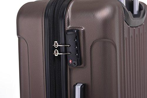BEIBYE TSA Schloß, Zwillingsrollen, Dehnungsfuge, Hartschale Trolley Koffer Kofferset Reisekoffer Gepäckset (Coffee) - 5