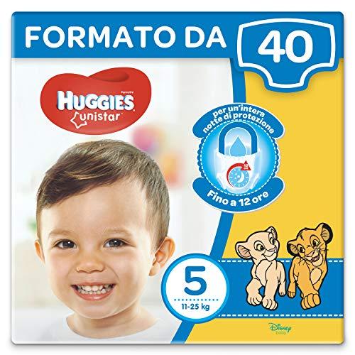 Huggies Unistar Pannolini, Taglia 5 (11 - 25 kg), Confezione da 40 Pannolini