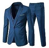 YOUTHUP Costume Homme Un Bouton Mode Slim fit Trois Pièces Elégant Business Mariage