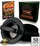 Le Flair XXL Burgerpresse-Set 4 in 1 -NEUES Modell 2019- mit E-Book | Burger Pattie Presse für Hamburger ideales Grillzubehör BBQ mit Backpapier Patty Maker Burger zum Grillen | Deutsche Marke