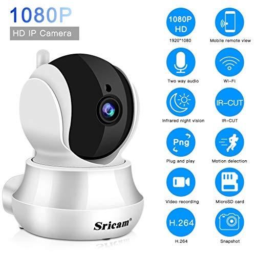 Sricam SP020 Telecamera di Sorveglianza WiFi Interno, 1080P IP Camera Wireless con Visione Notturna a Infrarossi, Audio Bidirezionale, Sensore di Movimento, Compatibile con iOS Android