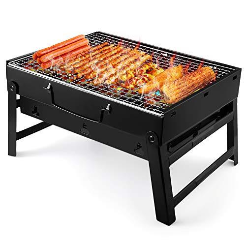 UTTORA Grill Barbecue, Portable et Pliable Barbecue de Table au Charbon de Bois Sans Fumée en Acier Inoxydable à l'Extérieur BBQ pour Jardin Terrasse Pique-Nique Camping Voyage (38 * 27 * 20cm)