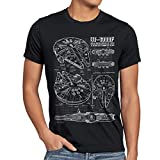 style3 Millennium Falcon T-Shirt da Uomo Cianografia, Dimensione:XL;Colore:Nero