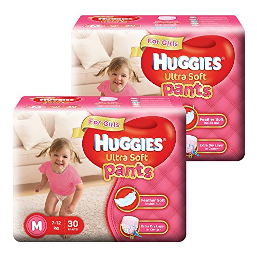 Huggies Ultra Soft Pants Diapers for Girls, Medium (2 X Pack of 30)