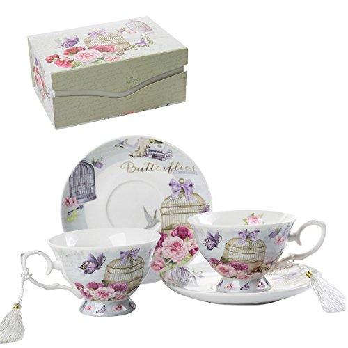 London Boutique Set aus Kaffee-/Teetassen und Untertassen, Shabby Chic, Vintage-Design, Porzellan mit Blumenmuster, 2 Sets in Geschenk-Box, Keramik (Lalic Summer Garden)