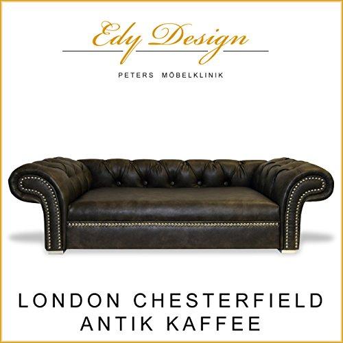 Cani divano London Chesterfield anticato caffè XXL esclusivo-Nuovo fatta a mano