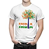 iberrys Men's Dryfit Round Neck Half Sleeve Tshirt Republic Day 22 Special Indian (Hand Print Tree) White