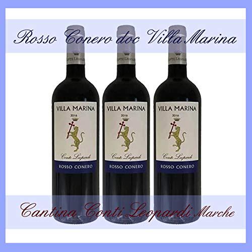 3x VILLA MARINA ROSSO CONERO DOC 0,75 l. cantina Conti Leopardi Marche