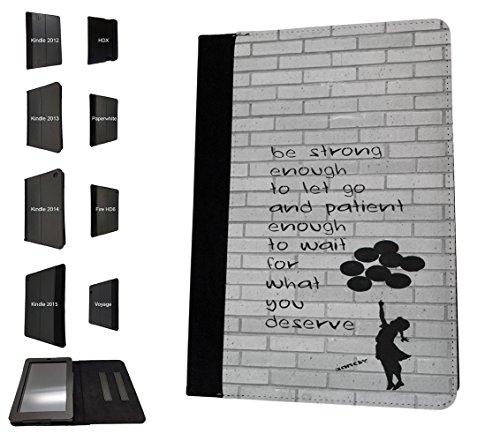 "002254-Banksy Graffiti Art Floating Balloon Girl Quote Be fuerte diseño Amazon Kindle Fire 7""5ª generación (2015Release Only) funda de tendencia de moda TPU funda de piel protectora bolso bolsa libro Defender atril"