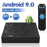 Android 9.0 TV Box, Android BOX 4GB RAM 64GB ROM H6 Quad core corex-A53 Supporto 3D 6K Ultra HD H.265 WiFi 2.4 GHz Ethernet HDMI Smart TV BOX con Remote Control