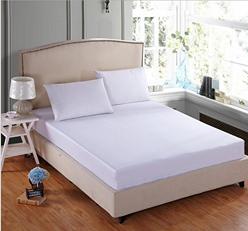 """Linenwalas 600 TC Premium Cotton Plain Queen Size Fitted Bedsheet with 2 Pillow Covers- White - 60"""" x 78"""" x 12"""""""