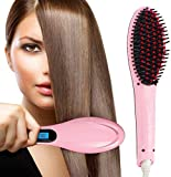 RYLAN Hair Electric Comb Brush 3 in 1 Ceramic Fast Hair Straightener For Women's Hair Straightening Brush with LCD Screen, Temperature Control Display,Hair Straightener For Women (Pink)