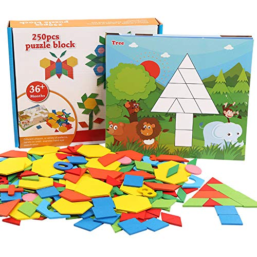 Puzzle di Modello in Legno,Colorato Geometria Forma Sega Tangram Blocchi Giochi di Abbinamento con...