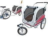 POLIRONESHOP ARGO rimorchio e passeggino per trasporto cani cane animali carrello carrellino trasportino rimorchi da bici bicicletta jogger carrozzina dog portacani portacane porta (ROSSO, SMALL)
