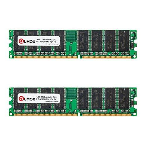 QUMOX Memoria DDR DIMM 2GB(2 x 1GB) 400Mhz PC3200 (184PIN) para Computadora de Escritorio