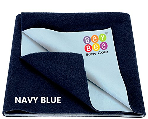Bey Bee Just Dry-Waterproof Bed Protector, Dark Blue (Double Bed)-XL
