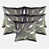 Belive-Me Silver Grey Leaves Cushion Covers 16 by 16 inches Set of 5