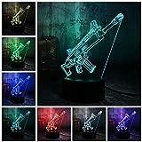 Aoyuhf Luce Notturna 3D 3D Scar-L Rifle Led Night Light Lampada Da Tavolo 7 Color Boy Child Toy Home Decoration Regalo Di Natale