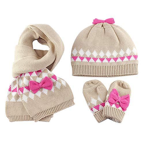 Guanti Sciarpa cappello lavorato a maglia Set 3 pezzi invernali Bebè Bambine 1-2 Anni Ragazze...
