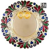 Bombay Haat Designer Golden Puja Thali / Rakhi Platter / Tilak Thali With Two Katoris