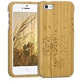 kwmobile Funda para Apple iPhone SE / 5 / 5S - Carcasa Protectora de [bambú] para móvil - Case [Duro] con diseño de Diente de león