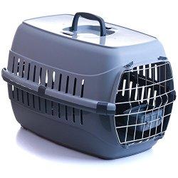 katzeninfo24.de Transportbox für Katzen mit Metalltür und Napf 58x35x37cm bis 8 kg grau