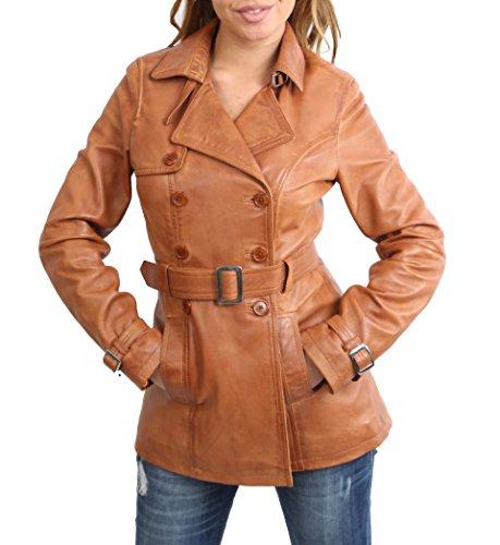 House Of Leather Cappotto di Cuoio Trench di Lunghezza Media delle Donna Attrezzato Doppiopetto Giacca Reefer Sienna Marrone Chiaro (X-Small)