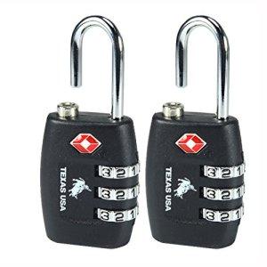 Texas USA - TSA Lock - Pack of 2 Black Locks - Mandatory for US Customs (ONLY Original Branded Lock Online !) 2