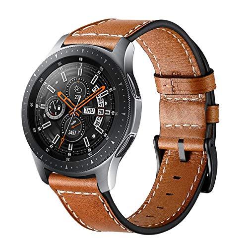 Circle - Cinturino di ricambio in vera pelle con chiusura in acciaio inox, spessore: 22 mm, compatibile con Galaxy Watch SM-800/SM-R805 46mm di Samsung