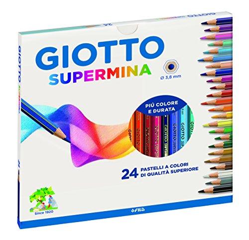 Giotto- Fila Astuccio 24 Supermina Diametro Mina 3,8Mm Pastelli A Matita Gioco 118, Multicolore,...