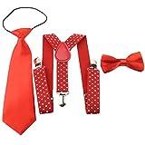 1 Conjunto Tirantes & Pajaritas&Corbata Elástica Ajustable Infantil Para Los Niños Color Sólido Y Punto Muchachos&Muchachas Unisex (2)