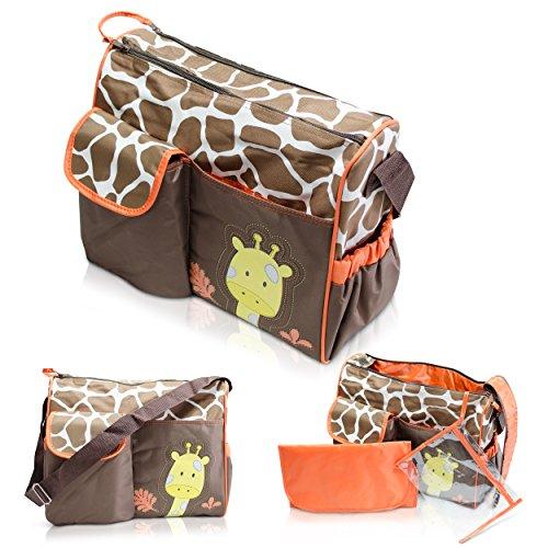 Wickeltasche mit Giraffen-Muster, braun
