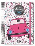 Dohe Volkswagen - Agenda espiral 2017, día página, 15 x 21 cm, color rosa