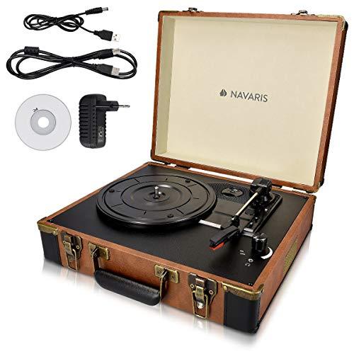Navaris Giradischi con valigetta vintage - Lettore per dischi Jack RCA USB MP3 3 velocità 33/45/78...