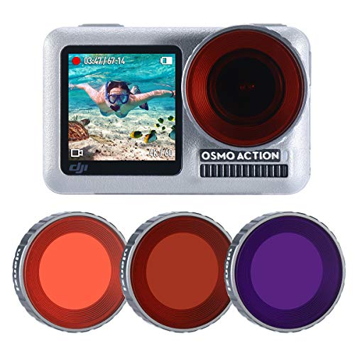 ULANZI OA-9 3-dive filter OSMO Action for DJI accessories Osmo Action Camera Diving case Super Suit - Red, purple, magenta immersion filters for underwater videos and photographers