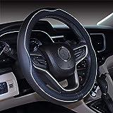 Istn Mikrofaser Leder Auto Lenkradbezug 38cm für die meisten Autos (Black White)
