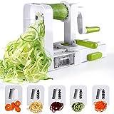 Spiralizer 5 lames Coupe-légumes spirale de légumes, Sedhoom pliable trancheuse spirale, Meilleur courgettes nouilles et légumes Pâtes et Spaghetti Maker pour Low Carb/Paléo/repas sans gluten