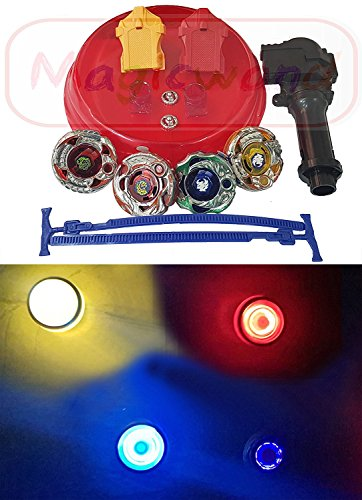 Magicwand 4 Big Metal Beyblades with Led Lights, 2 Launchers, 1 Stadium, 2 Spring Action Launchers