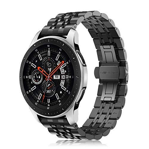 Fintie Samsung Gear S3 Cinturino, Braccialetto di Acciaio Inossidabile di Catena con Chiusura Pieghevole per Samsung Gear S3 Frontier / S3 Classic/Moto 360 2nd Gen Smartwatch, Nero Plus