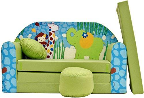 PRO COSMO Z16Bambini Divano Letto futon con Pouf/poggiapiedi/Cuscino, Tessuto, Verde, 168x 98x...