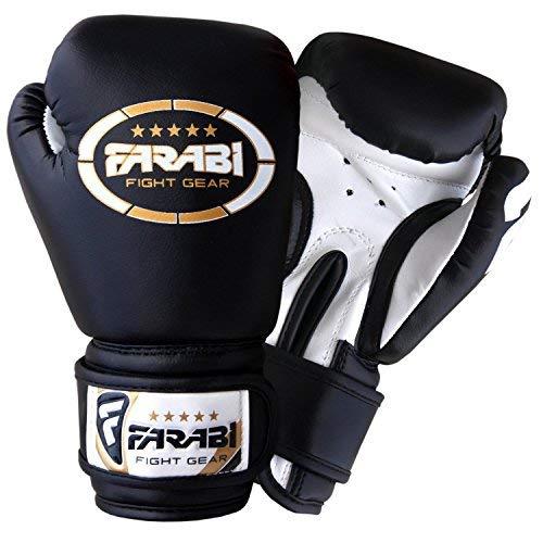Farabi 113,4Gram Nero Guanti da MMA in Pelle Sintetica, Guanti da Boxe Junior