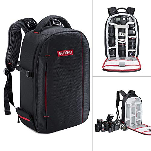 Beschoi 813010001- Zaino per Fotocamera Professionale , Borsa Foto Impermeabile Porta Reflex Laptop...