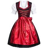 Dirndl Set 4 tlg. Trachtenkleid schwarz mit roter Stickerei + Dirndlkette 34 -